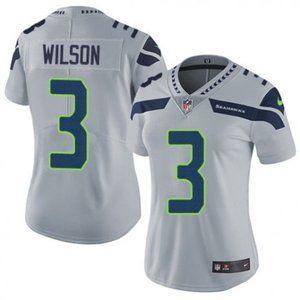 Women Seahawks Russell Wilson Gray Jersey